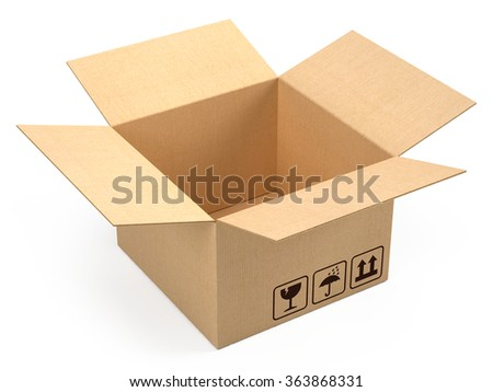 Opened cardboard box package isolated on white - stock photo