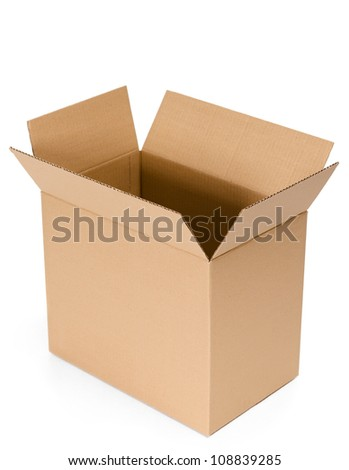 Opened cardboard container, isolated, white background - stock photo