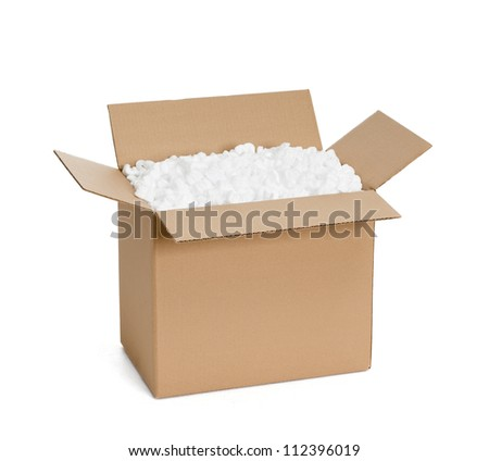 Opened cardboard container with filling material, isolated, white background - stock photo