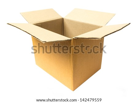 Opened cardboard package on white - stock photo