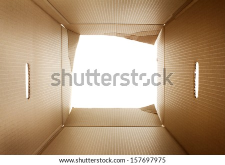 Opened cardboard packaging box - stock photo