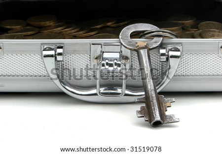 opened case with money - stock photo