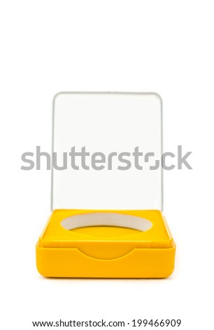 opened case with orange interior isolated over white