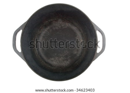 opened cast iron saucepan from the top