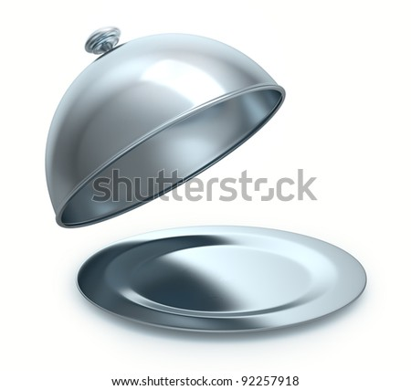 opened cloche, isolated on white background - stock photo