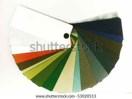 Opened color guide for architects and designers. Samples of colors for painting metal elements  in the interior and exterior of a building. - stock photo