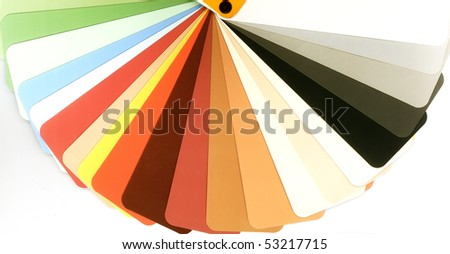 Opened color guide for architects and designers. Samples of colors for painting wall elements  in the interior and exterior of a building. - stock photo
