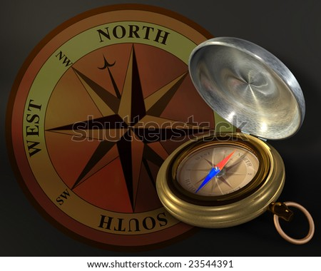 Opened compass on windrose background - stock photo