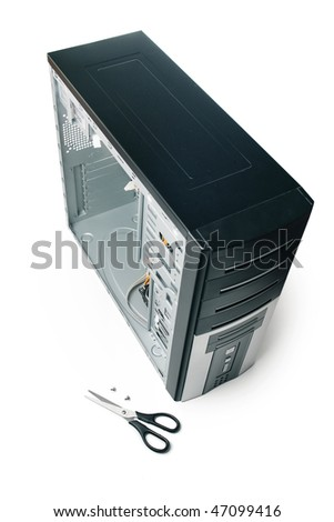 Opened computer case with screws - stock photo