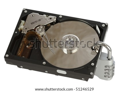 "Opened computer hard disk ""locked"" with a padlock. Useful to illustrate concepts like data security, data loss, cryptography. - stock photo"