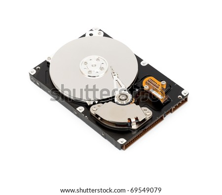 Opened computer harddisk on a white background