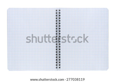 Opened copybook isolated on white background