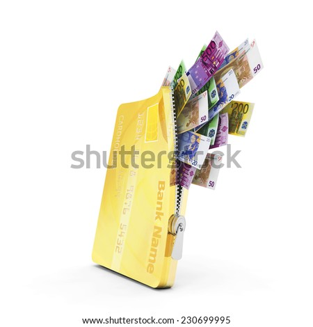 Opened credit card with a lot of euro notes - stock photo