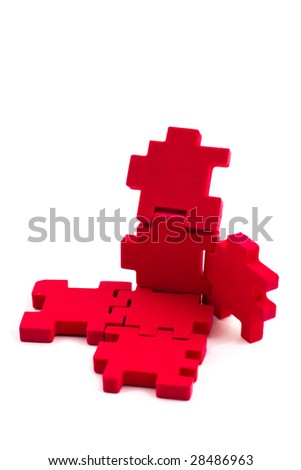 Opened cube puzzle. Concept of problem solved. - stock photo