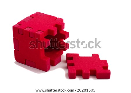 Opened cube puzzle. Concept of problem solved. Isolated on white background. - stock photo