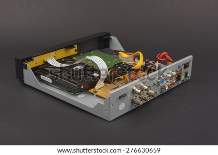 Opened Digital Video Recorder for video surveillance cameras - stock photo
