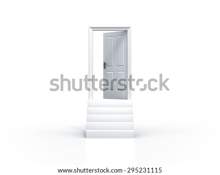 opened door concept whit stairway isolated on white background