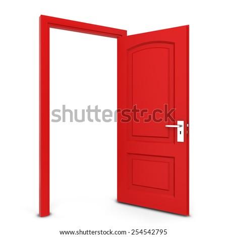 Opened door. 3d illustration isolated on white background - stock photo
