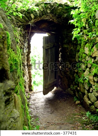 Opened door in a mediaval wall