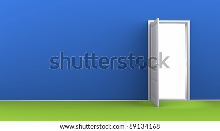 Opened door in an empty a blue room's wall - stock photo