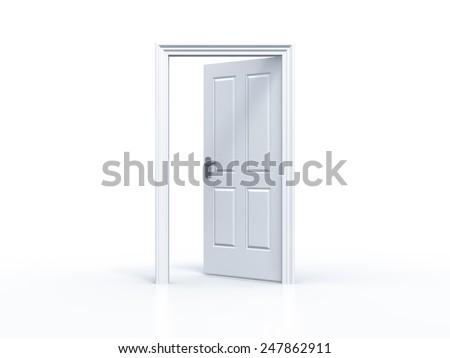 opened door in white background - stock photo