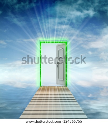 opened door leading to another dimension illustration - stock photo