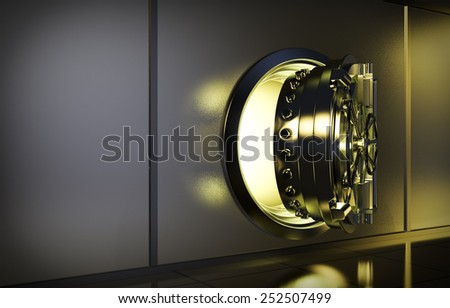 opened door of bank vault with a yellow light coming from inside (3d render) - stock photo