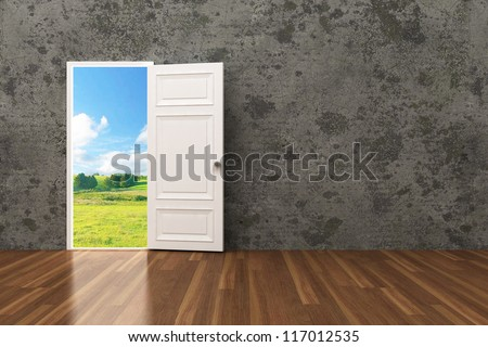 opened door on the Concrete wall to future 3d - stock photo