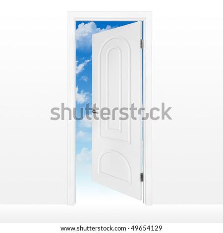 Opened door to blue sky - stock photo
