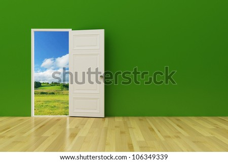 opened door to future on the green wall - stock photo