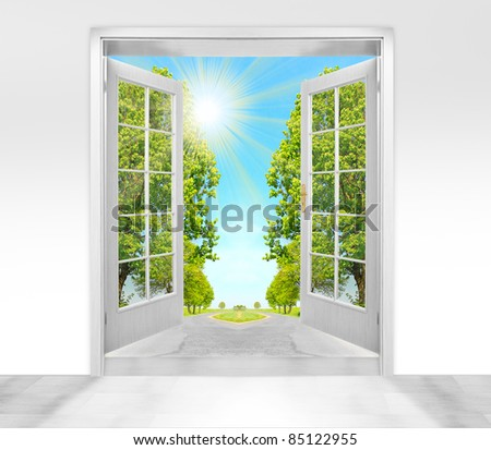 Opened door to morning in green landscape - conceptual image - environmental business metaphor. & Opened Door Morning Green Landscape Conceptual Stock Illustration ...