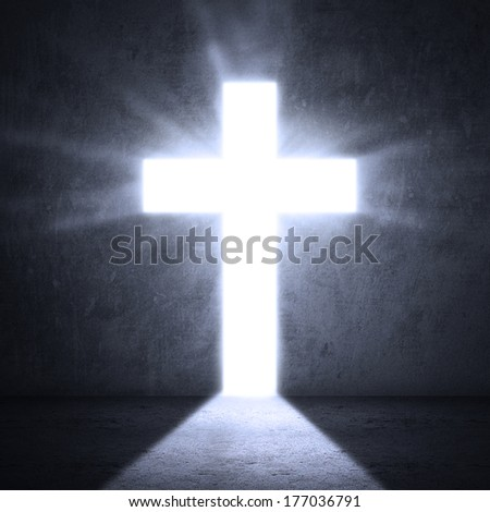Opened door with bright light cross - stock photo