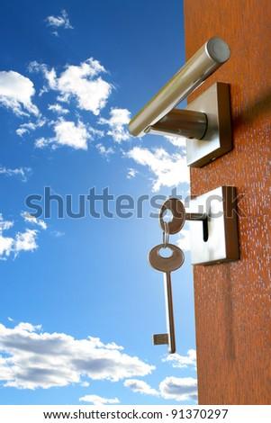 opened door with sky - stock photo