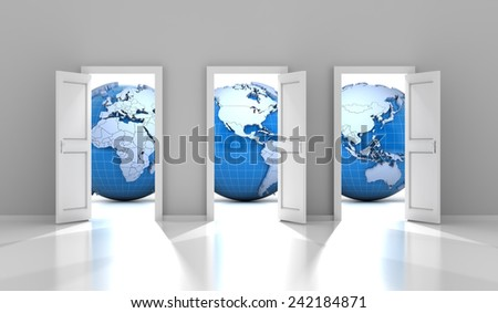 Opened doors leading to different parts of the world, 3d render - stock photo