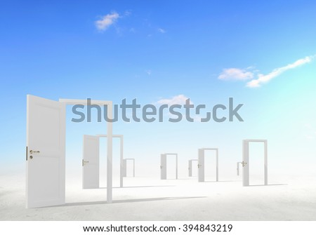 Opened doors to somewhere - stock photo