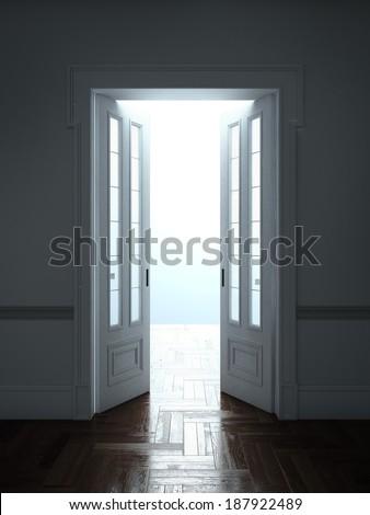 Opened Doors With Bright Light - stock photo