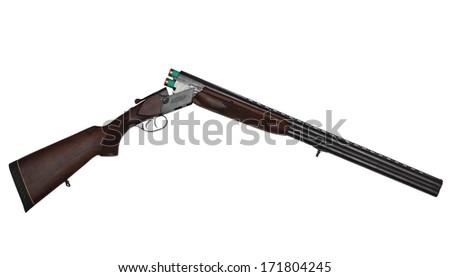 Opened double-barrelled hunting gun with two green cartridges isolated on white background - stock photo
