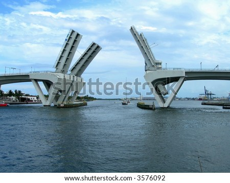 Opened draw bridge at harbor in Fort Lauderdale, Florida - stock photo