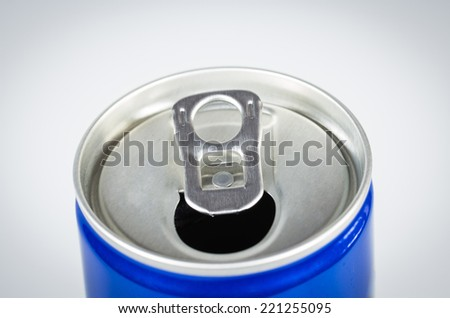 Opened drink can. Isolated on a white. - stock photo