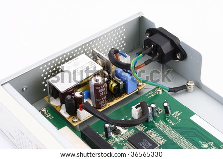 opened electronic device (network switch) - stock photo