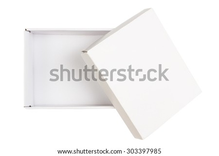 Opened empty cardboard box with cover  isolated on white  - stock photo