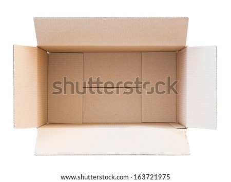 Opened empty carton box isolated on white. Top view. - stock photo