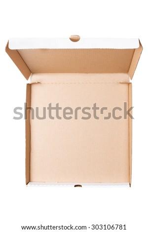 Opened empty pizza box isolated on white background - stock photo