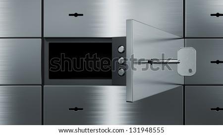 opened empty  safety deposit box, 3d image - stock photo