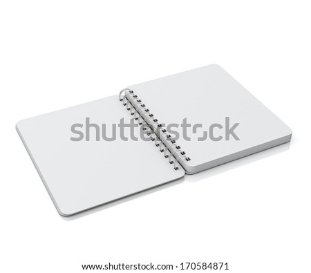 opened empty spiral notebook lying isolated on white background - stock photo