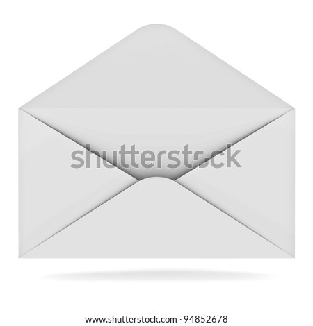 Opened envelope isolated on white background with shadow - stock photo
