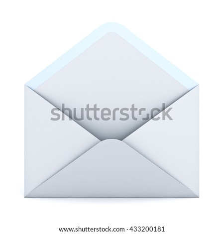 Opened envelope isolated on white background with shadow. 3D rendering. - stock photo