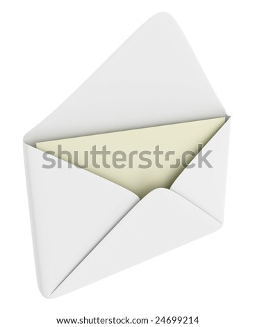 Opened envelope with blank paper (mail theme)