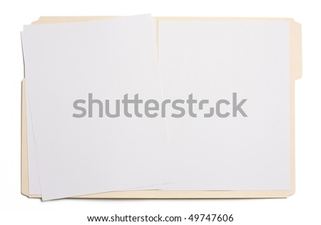Opened file folder with white paper in it. - stock photo