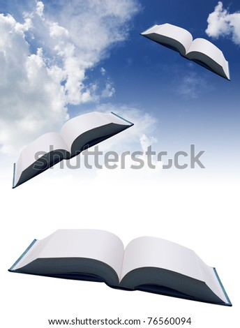 Opened flying book on a sky background